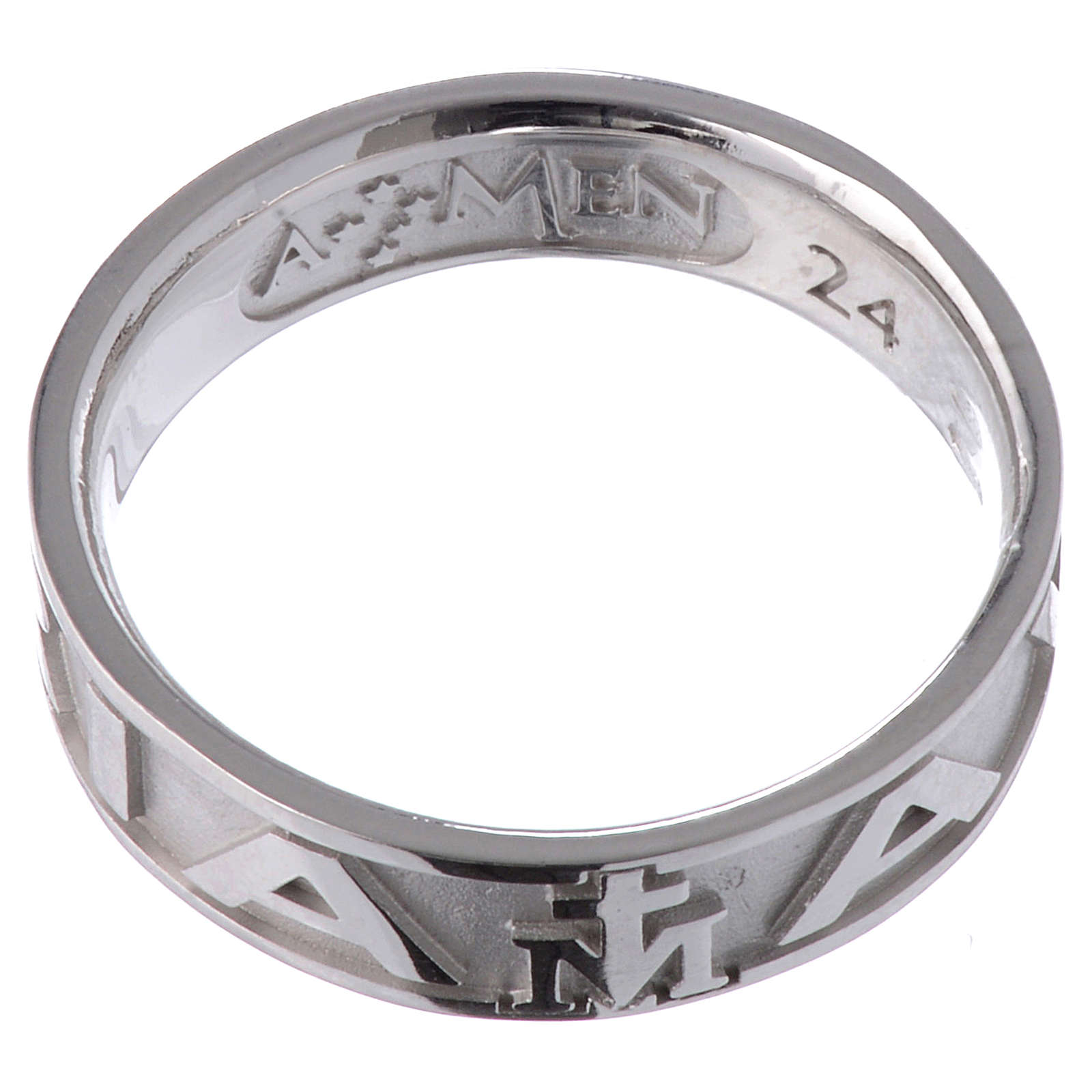 Ring AMEN Hail Mary silver 925, Rhodium finish 3