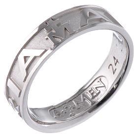 Ring AMEN Hail Mary silver 925, Rhodium finish s1