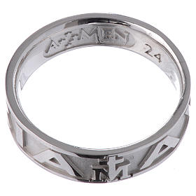 Ring AMEN Hail Mary silver 925, Rhodium finish s2