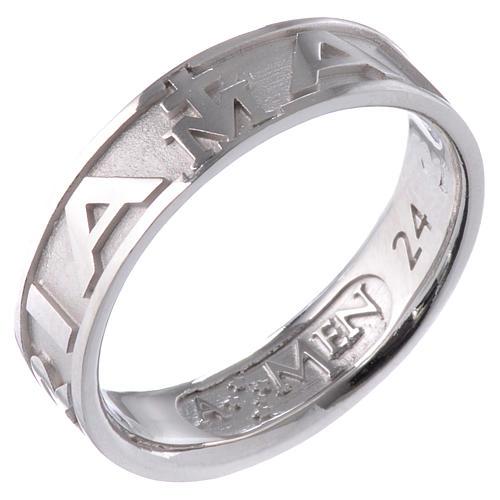Ring AMEN Hail Mary silver 925, Rhodium finish 1