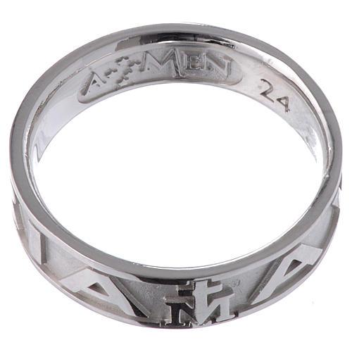 Ring AMEN Hail Mary silver 925, Rhodium finish 2
