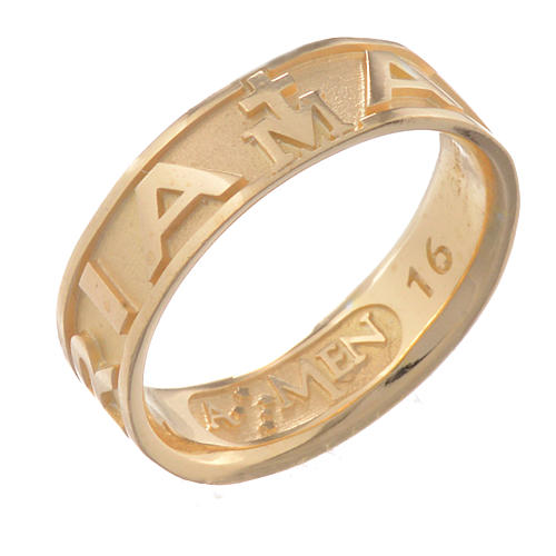 Anillo AMEN Ave Maria plata 925 acabado dorado 1