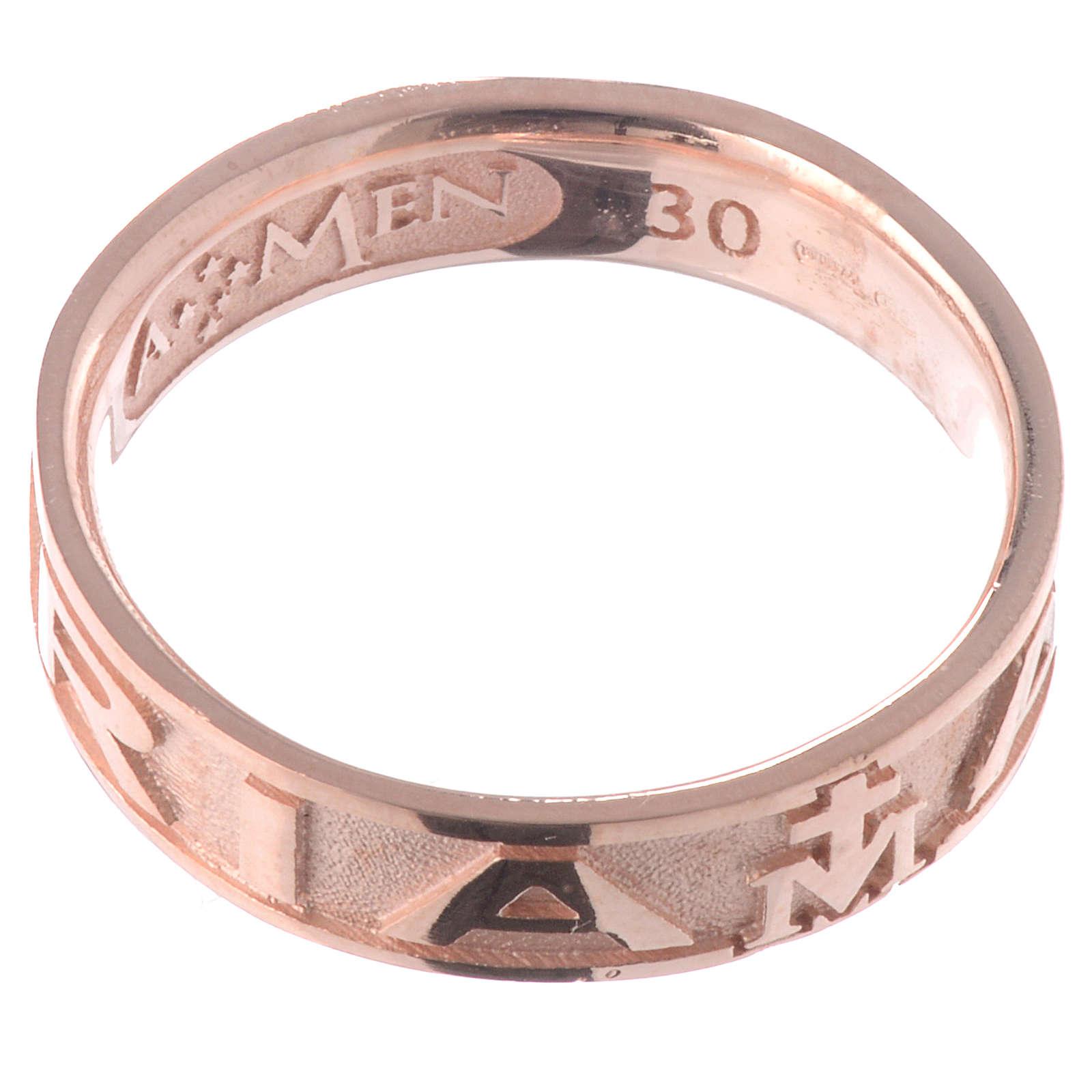 Anillo AMEN Ave Maria plata 925 acabado rosado 3