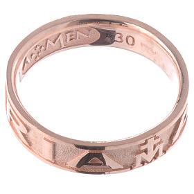 Anillo AMEN Ave Maria plata 925 acabado rosado s2