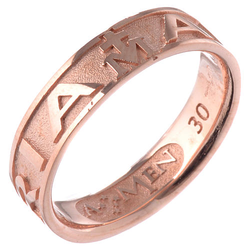 Anillo AMEN Ave Maria plata 925 acabado rosado 1