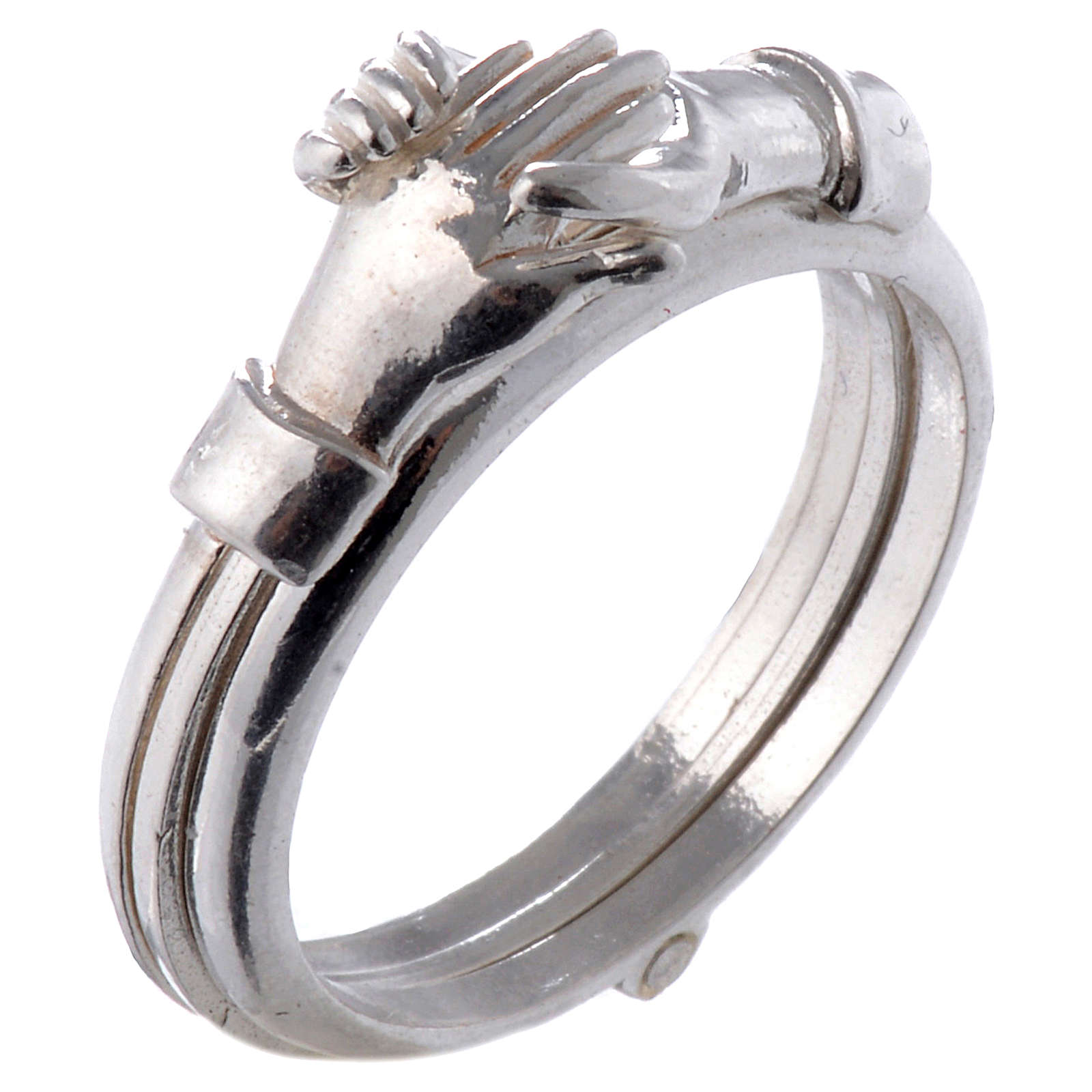 Ring in 800 silver with 2 hands which can be opened 3