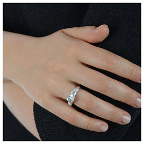 Ring in 800 silver with 2 hands which can be opened s6