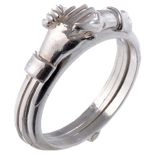 Ring in 800 silver with 2 hands which can be opened 1