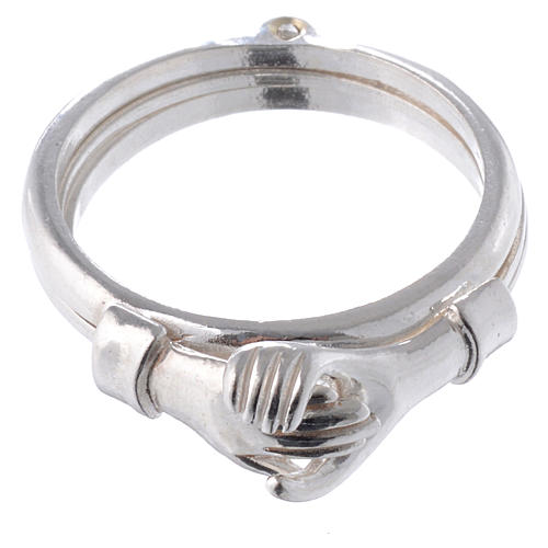 Ring in 800 silver with 2 hands which can be opened 2