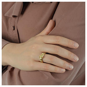 Ring in golden 800 silver with 2 hands which can be opened s5