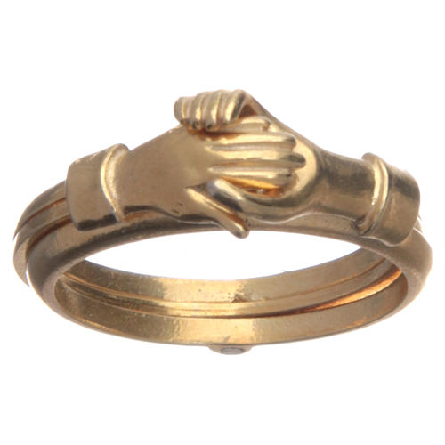 Ring in golden 800 silver with 2 hands which can be opened 1