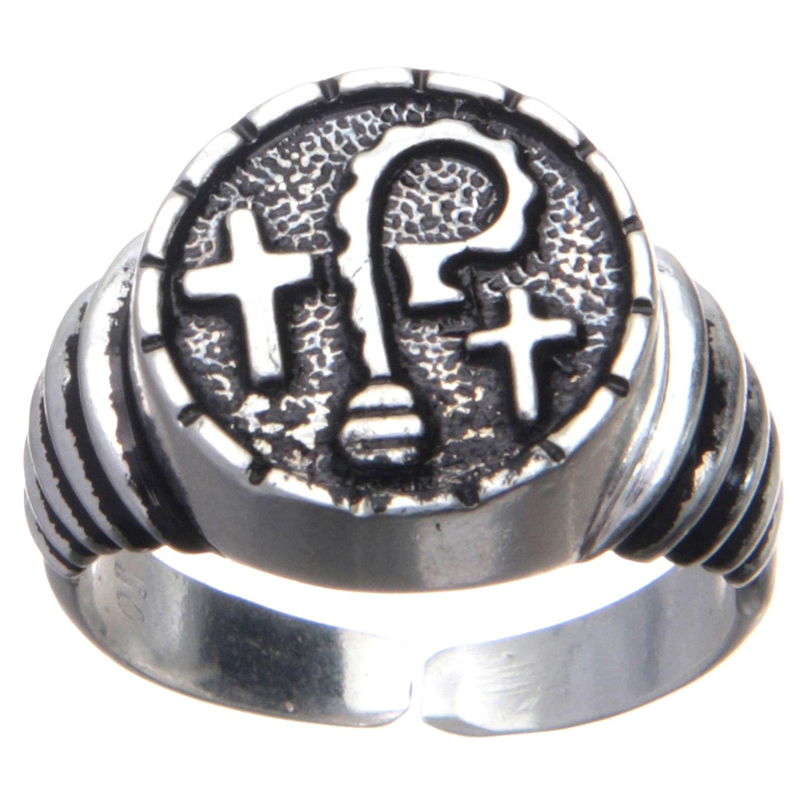 Anello vescovile in argento 925 pastorali e croci 3
