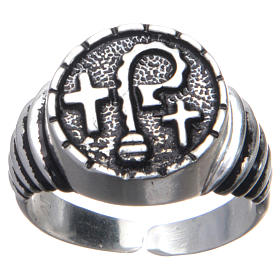 Bishop ring in burnished 925 silver with symbols s1