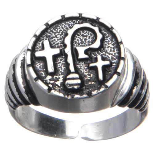 Bishop ring in burnished 925 silver with symbols 1