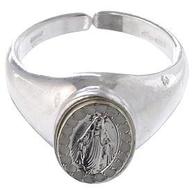 Anello Argento 925 Medaglia Miracolosa bianco regolabile