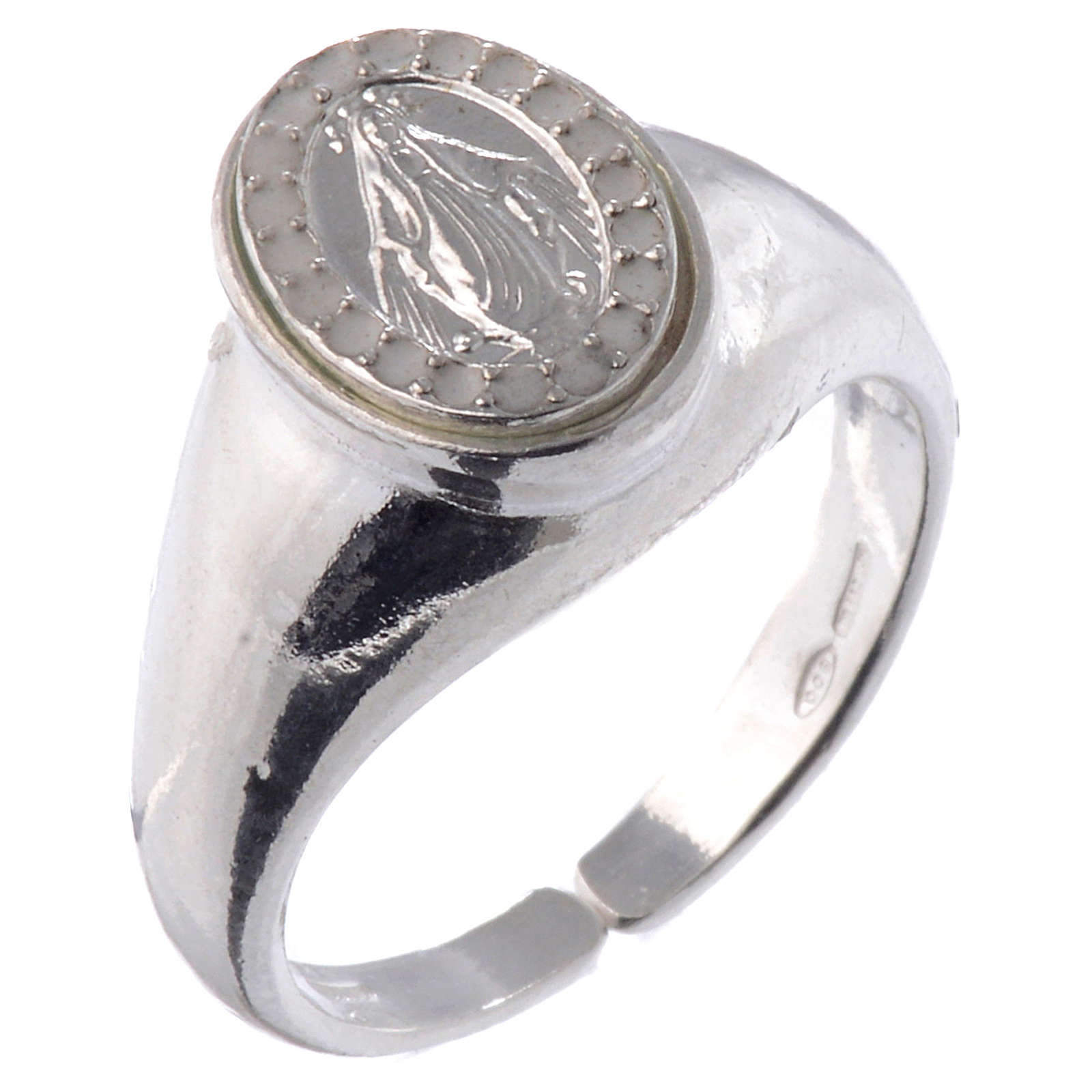 Ring in 925 silver with Miraculous Medal, white and adjustable 3