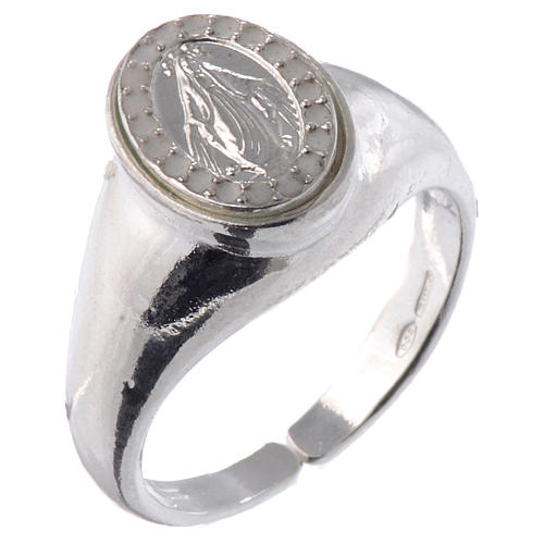 Ring in 925 silver with Miraculous Medal, white and adjustable 1
