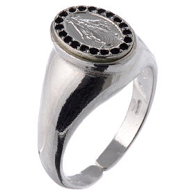 Ring in 800 silver with Miraculous Medal, black and adjustable s1