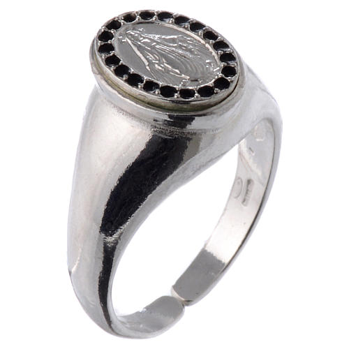 Ring in 800 silver with Miraculous Medal, black and adjustable 1
