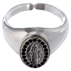 Anillo plata 800 Medalla Milagrosa esmalte negro ajustable s2