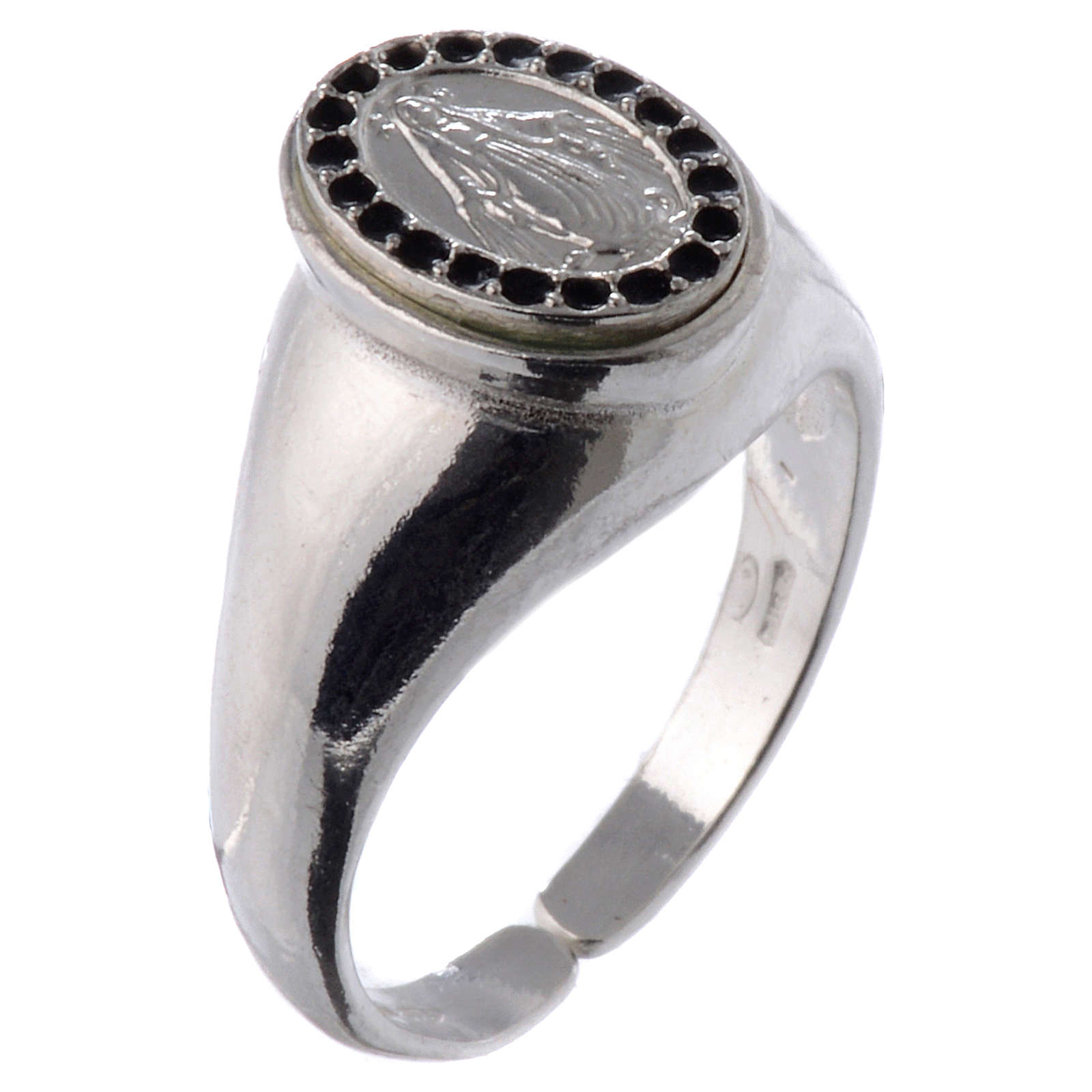 Ring in 800 silver with Miraculous Medal, black and adjustable 3