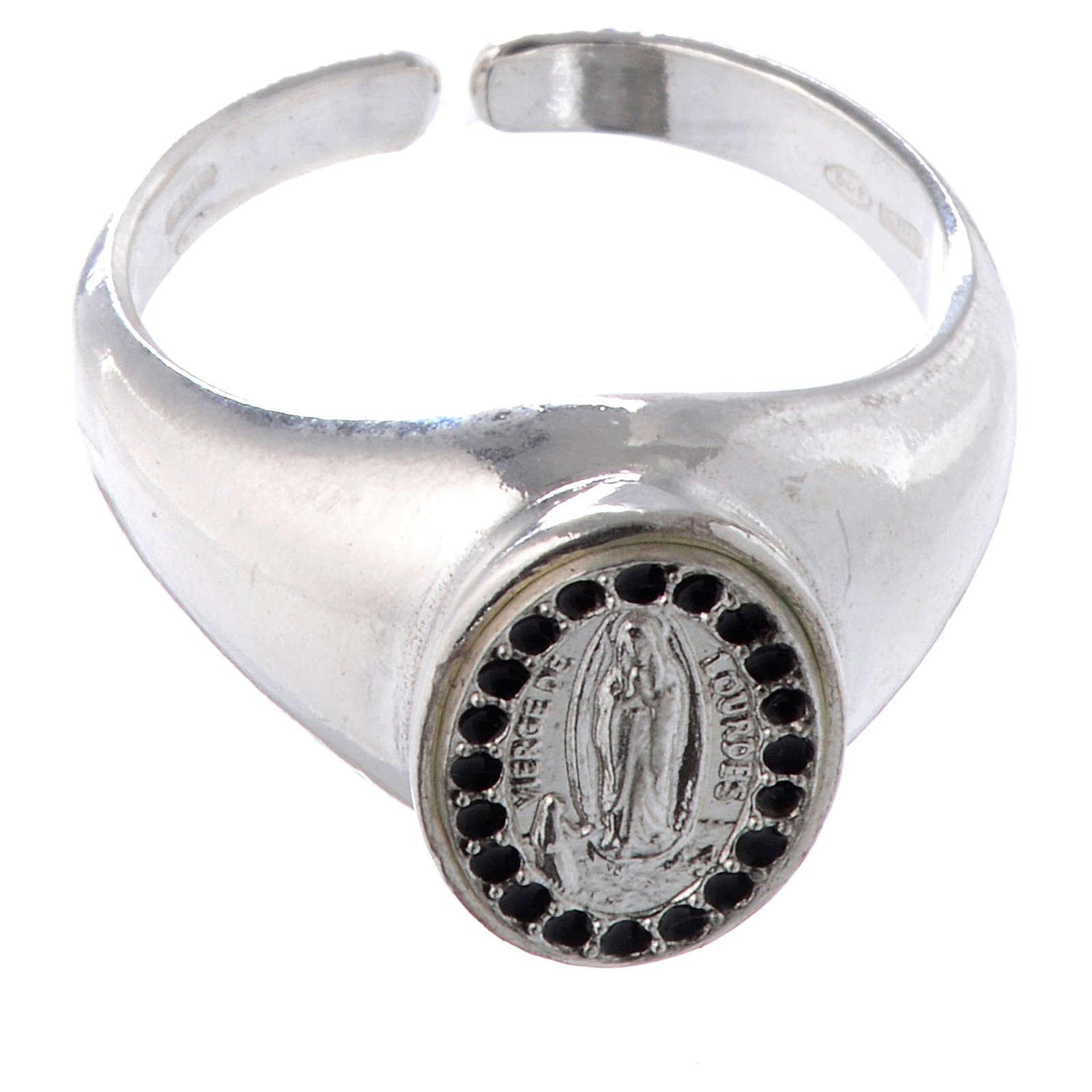 Anello argento 800 Medaglietta Lourdes smalto nero regolabile 3