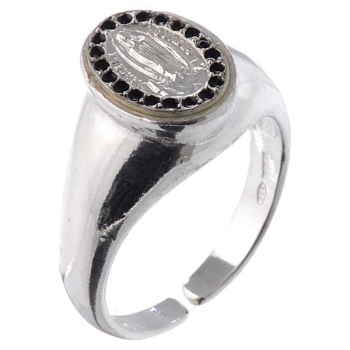 Anello argento 800 Medaglietta Lourdes smalto nero regolabile 1