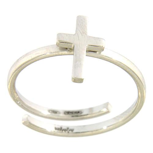 Bague spirale AMEN croix argent 925 fin. rhodium 1