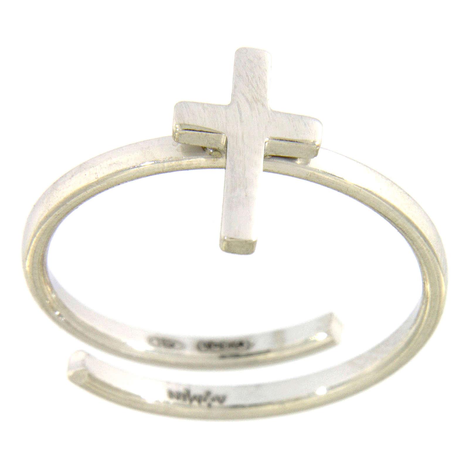 Pierścionek AMEN Krzyż na paliczek srebro 925 wyk. Rod 3