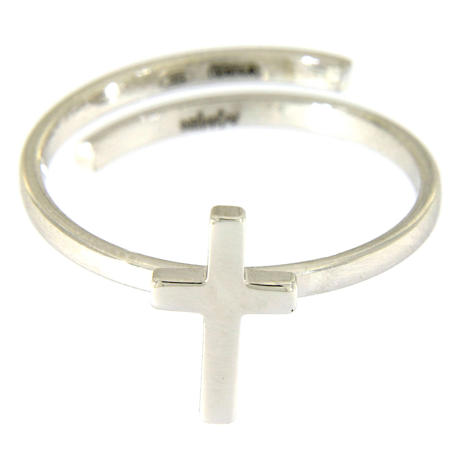 Sterling silver AMEN midi Ring Cross Rhodium finish 3