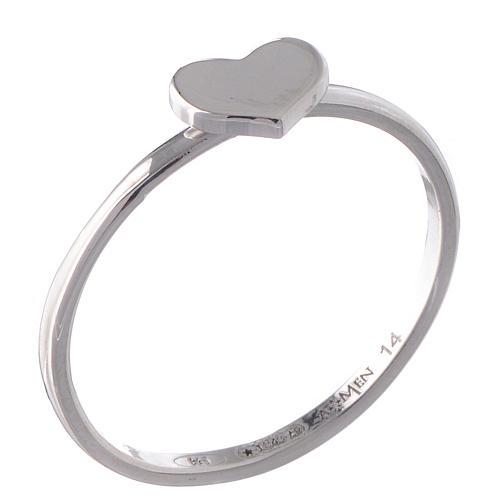 Ring AMEN Heart silver 925 Rhodium finish 1
