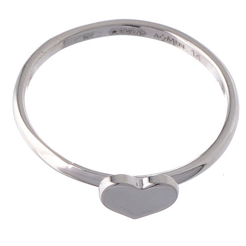 Ring AMEN Heart silver 925 Rhodium finish 2