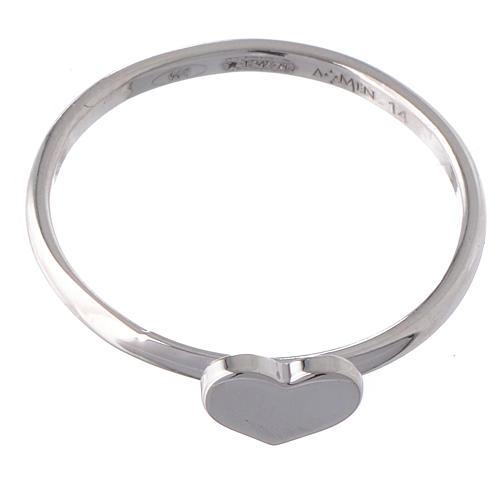 Anello AMEN Cuore argento 925 fin. Rodio 2