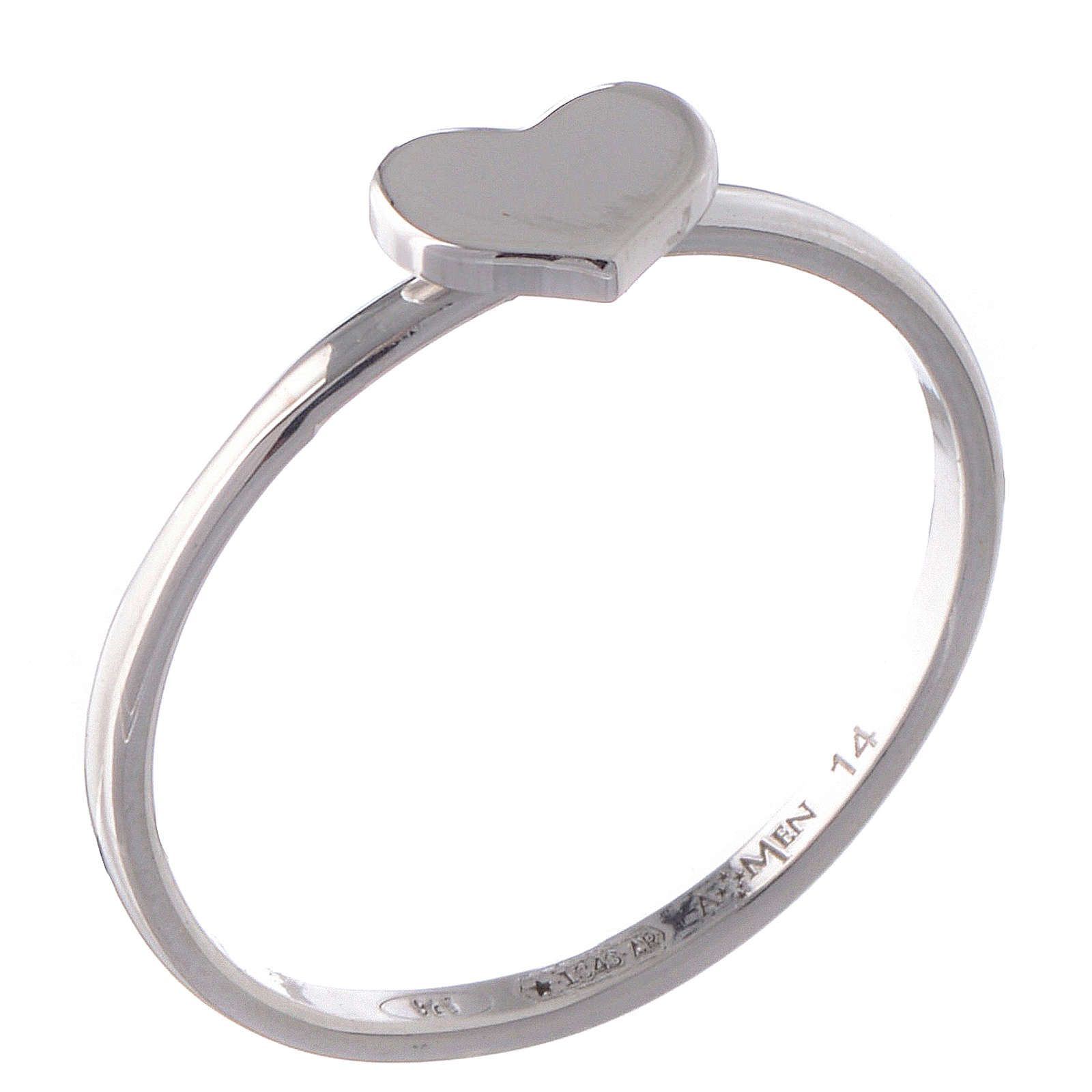 Sterling silver AMEN ring Heart Rhodium finish 3