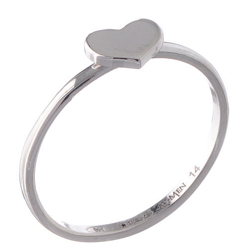 Sterling silver AMEN ring Heart Rhodium finish 1