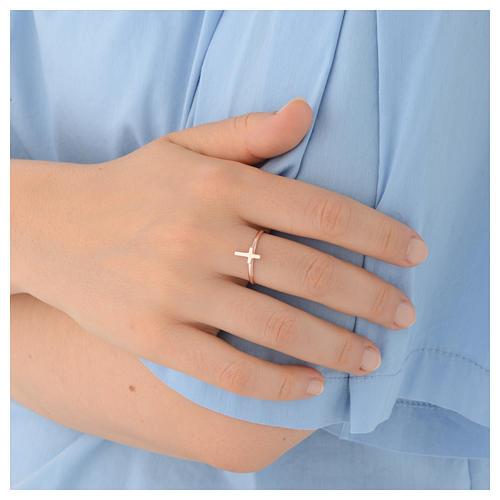 Ring AMEN rosa Silber Kreuz 4