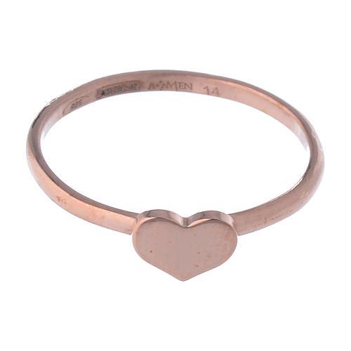 Anillo AMEN Corazón clásico plata 925 acabado rosado 2