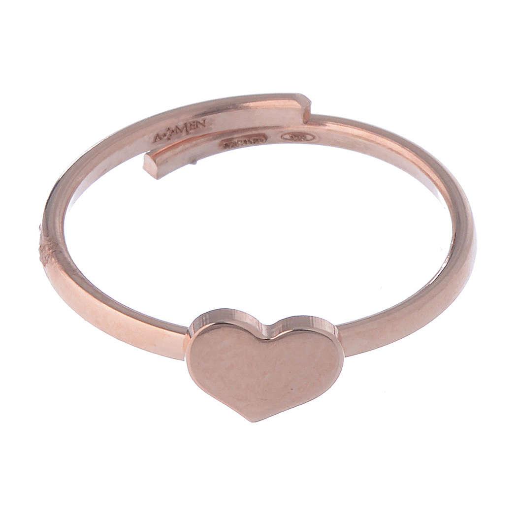 Midiring AMEN Herz Silber 925 rosa 3