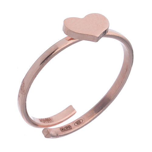 Midiring AMEN Herz Silber 925 rosa 1