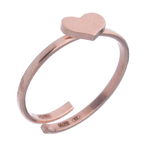 Anillo AMEN Corazón plata 925 acabado rosado 1