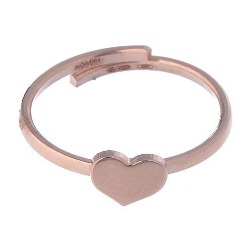 Anillo AMEN Corazón plata 925 acabado rosado 2