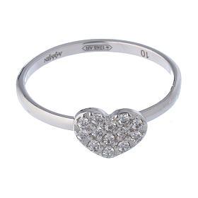 AMEN Ring Heart silver 925, Rhodium finish s2