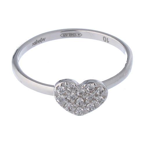 AMEN Ring Heart silver 925, Rhodium finish 2