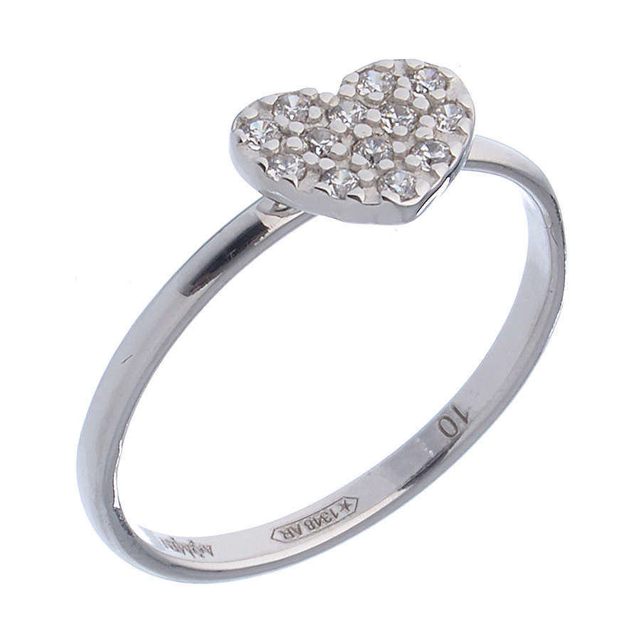 AMEN Ring Heart silver 925, Rhodium finish 3