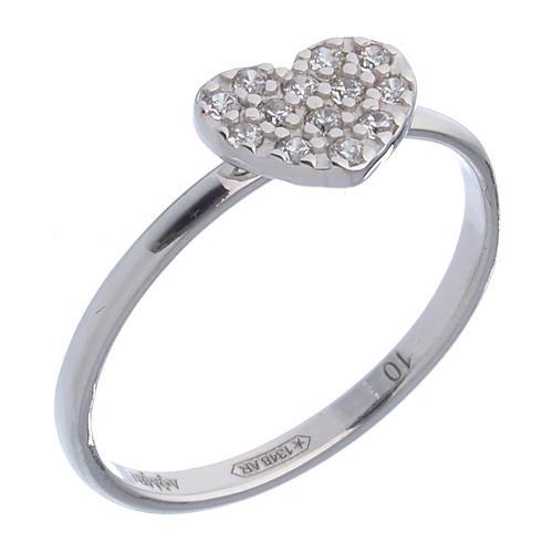 AMEN Ring Heart silver 925, Rhodium finish 1
