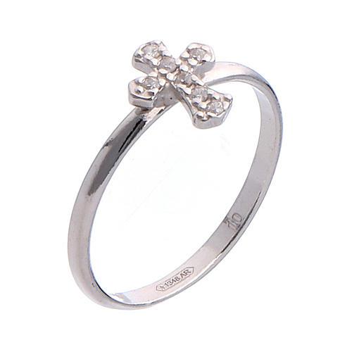 AMEN Ring Small Cross silver 925, Rhodium finish 1