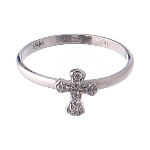 AMEN Ring Small Cross silver 925, Rhodium finish 2