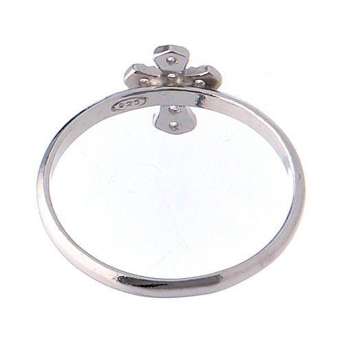 AMEN Ring Small Cross silver 925, Rhodium finish 5