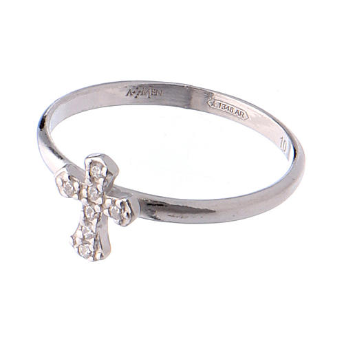 Anillo AMEN Cruz Plata 925 rodio 3