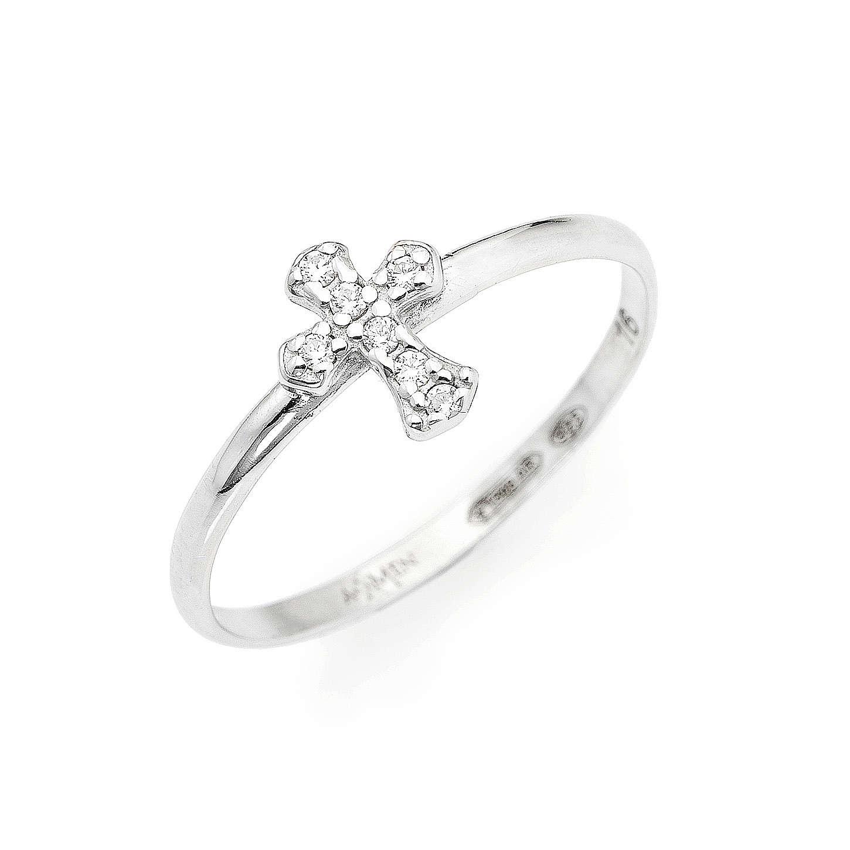 AMEN Ring Small Cross silver 925, Rhodium finish 3